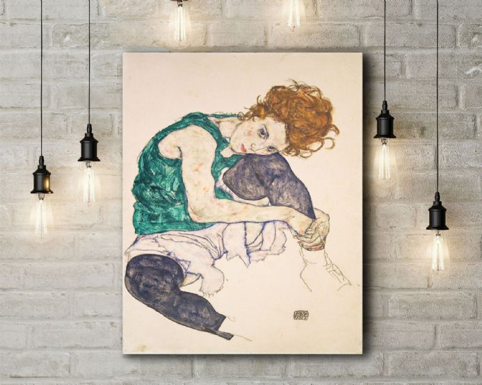 Egon Schiele: Seated Woman with Legs Drawn Up (Adele Herms). Fine Art Canvas.